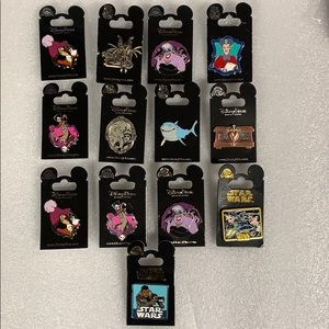 Lot of 13 Disney Star Wars Villian Shark Pins New